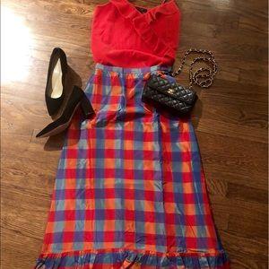 Dresses & Skirts - Vintage taffeta Plaid Maxi skirt Great for Holiday